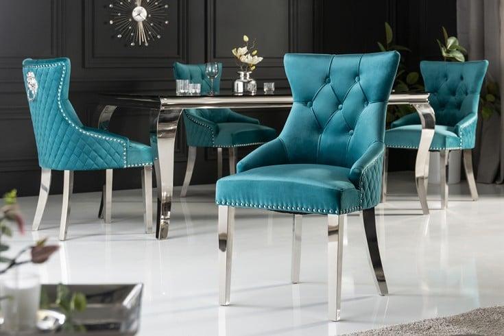 Eleganter Stuhl CASTLE türkis Samt mit Löwenkopf im Barock Design