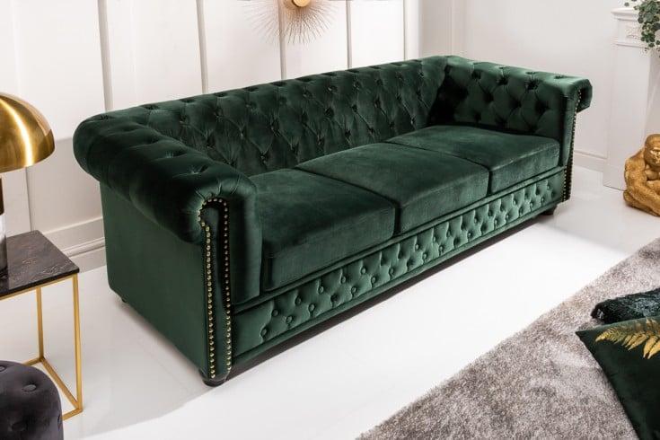 Chesterfield 3er Sofa 205cm flaschengrün Samt mit Knopfheftung und Federkern
