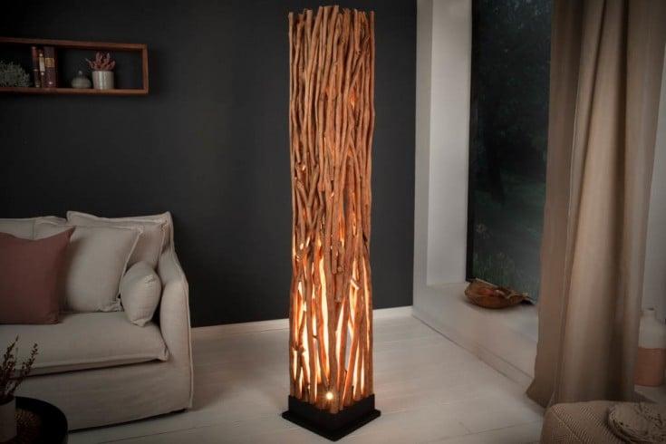 Handgefertigte Stehlampe NATURE ART 173cm aus Longan-Massivholz