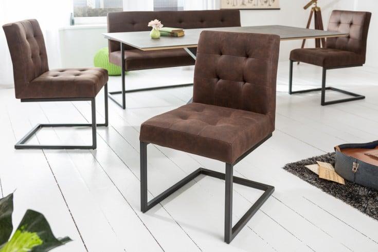 Industrial Freischwinger Stuhl RIDER vintage braun mit Metallgestell
