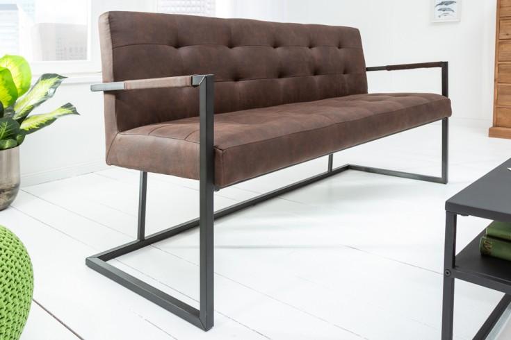 Industrial Sitzbank RIDER 160cm vintage braun mit Metallgestell