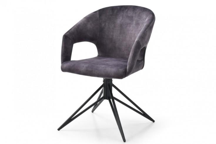 Drehbarer Retro Stuhl ETERNITY grau Samt mit Komfortgriff