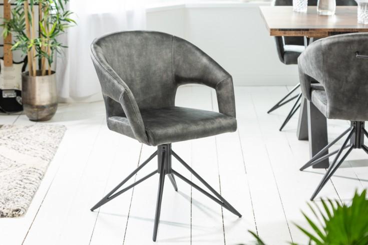 Drehbarer Retro Stuhl ETERNITY dunkelgrün Samt mit Komfortgriff