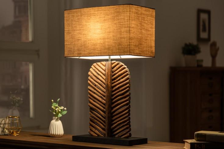 Handgefertigte Tischlampe LEAF 64cm braun aus Longan-Holz mit Baumwollschirm
