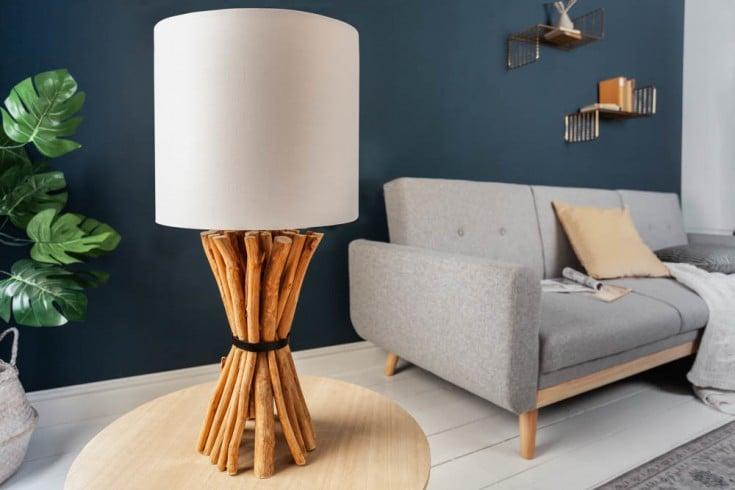 Handgefertigte Tischlampe EUPHORIA 56cm beige Longan-Holz mit Leinenschirm