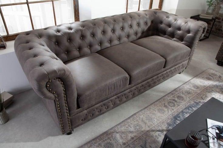 Chesterfield 3er Sofa 205cm vintage grau taupe 3-Sitzer mit Knopfheftung und Federkern