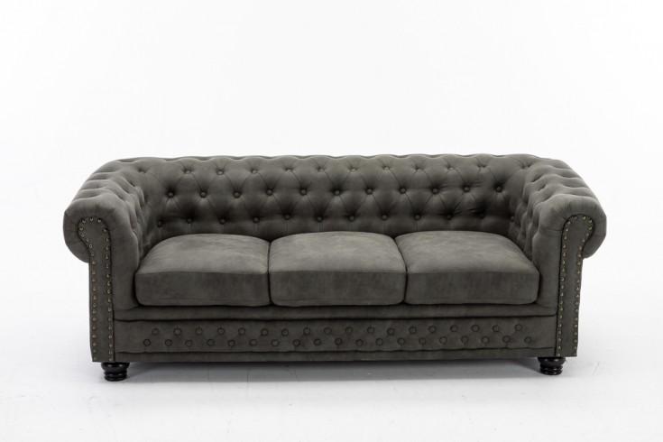 Chesterfield 3er Sofa 205cm antik grau 3-Sitzer mit Knopfheftung und Federkern