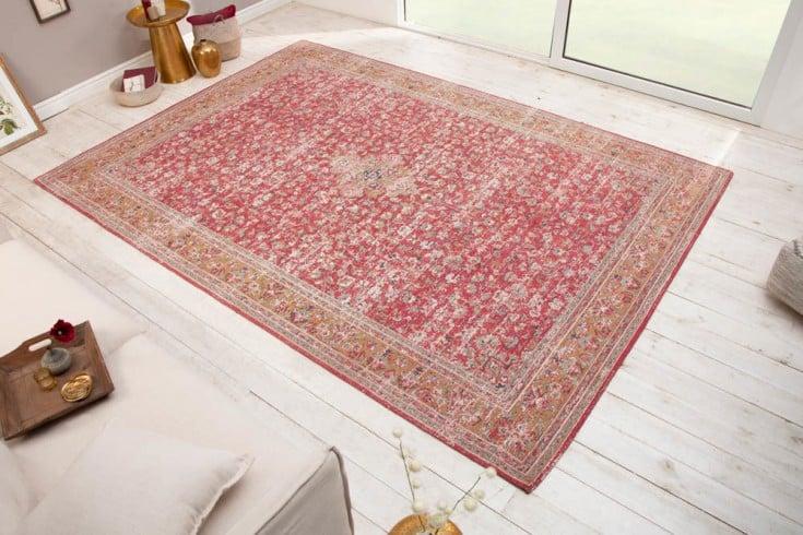 Orientalischer Baumwoll-Teppich OLD MARRAKESCH 350x240cm rot antik florales Muster