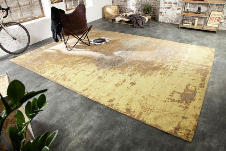 Vintage Baumwoll-Teppich MODERN ART 350x240cm rostbraun verwaschen Used Look
