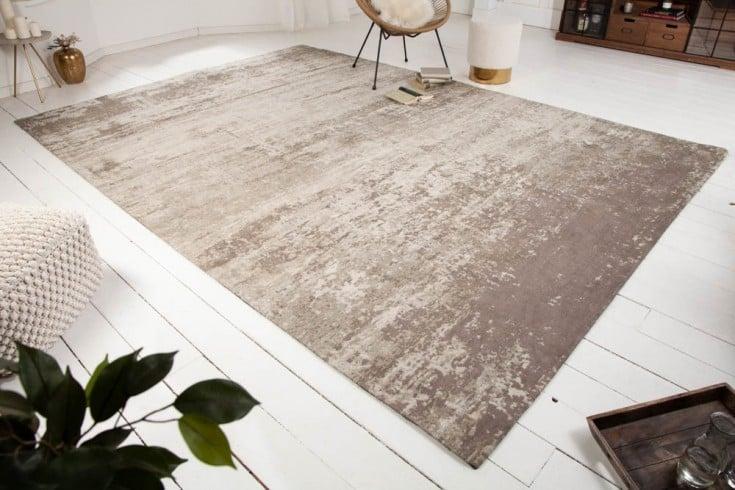 Vintage Baumwoll-Teppich MODERN ART 350x240cm beige-grau verwaschen Used Look