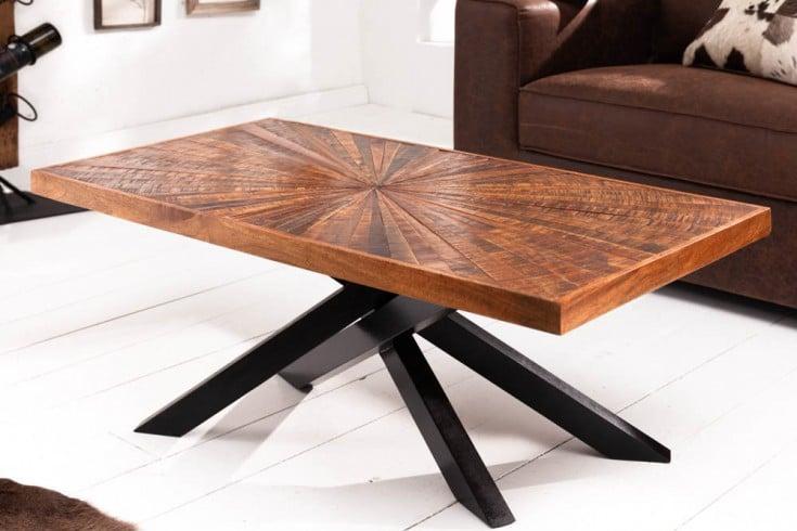 Industrial Couchtisch WOOD ART 105cm Mangoholz mit Holzmosaik in Handarbeit