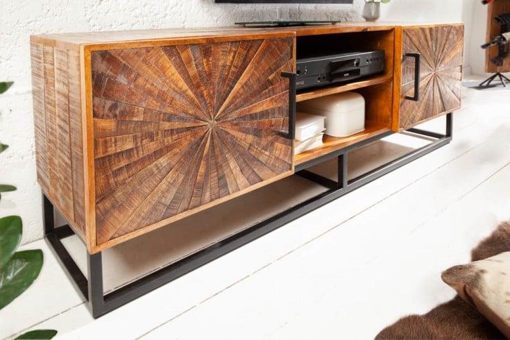 Industrial TV-Lowboard WOOD ART 145cm Mangoholz mit Holzmosaik in Handarbeit