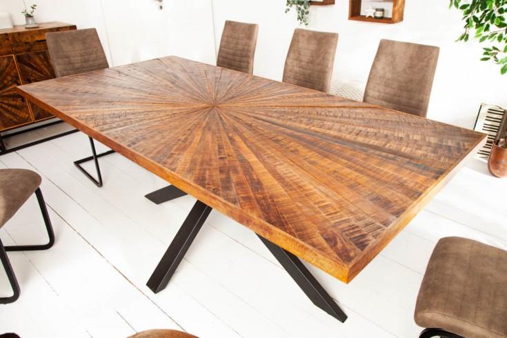 Industrial Esstisch WOOD ART 200cm Mangoholz mit Holzmosaik in Handarbeit