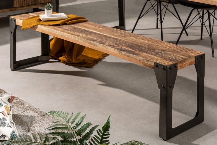 Massive Sitzbank FACTORY 160cm Mangoholz Industrial Design