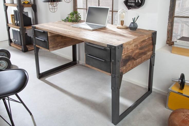 Industrial Schreibtisch FACTORY 135cm Mangoholz mit vier Schubladen
