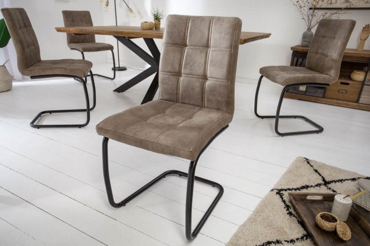 Industrial Freischwinger Stuhl MODENA vintage taupe mit Ziersteppung