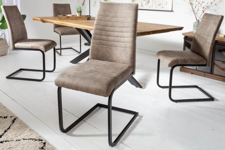 Industrial Freischwinger Stuhl APARTMENT antik taupe mit Metallgestell
