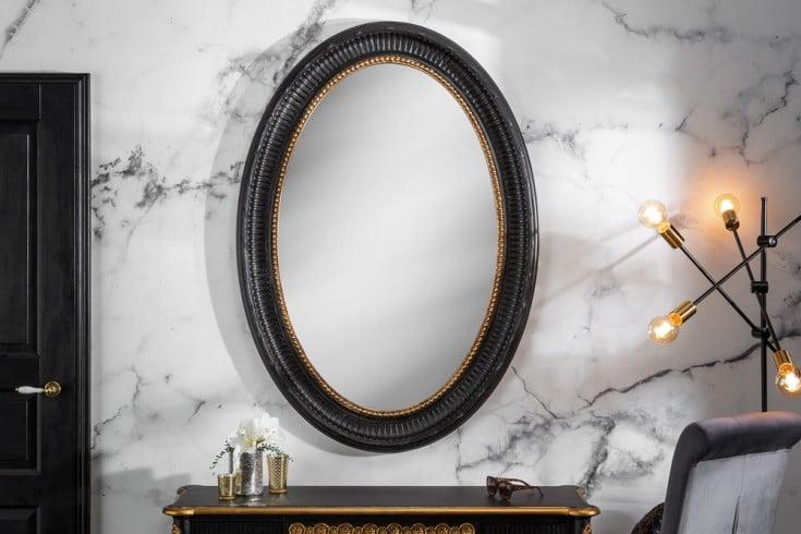 Eleganter Wandspiegel VENICE 135cm schwarz gold Massivholz-Rahmen