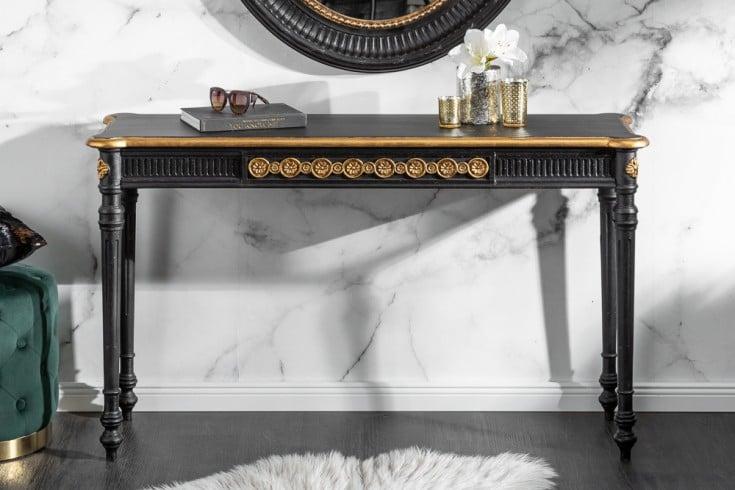 Eleganter Konsolentisch VENICE 125cm schwarz gold Massivholz
