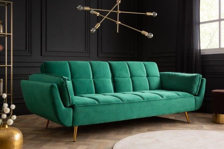 Retro Schlafsofa BOUTIQUE 213cm smaragdgrün Samt 3-Sitzer mit goldenen Füßen