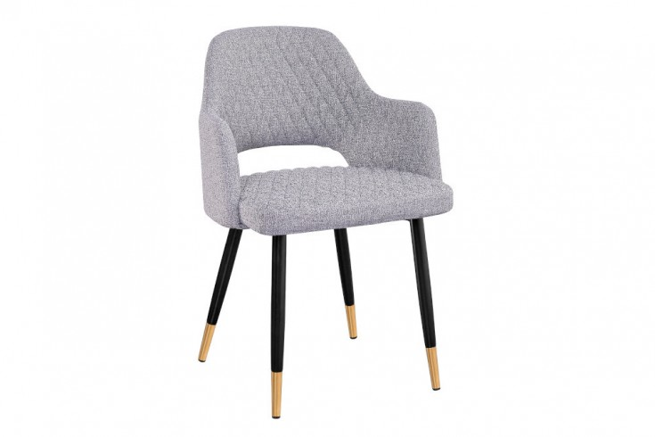 Eleganter Stuhl PARIS hellgrau mit Ziersteppung und goldene Fußkappen