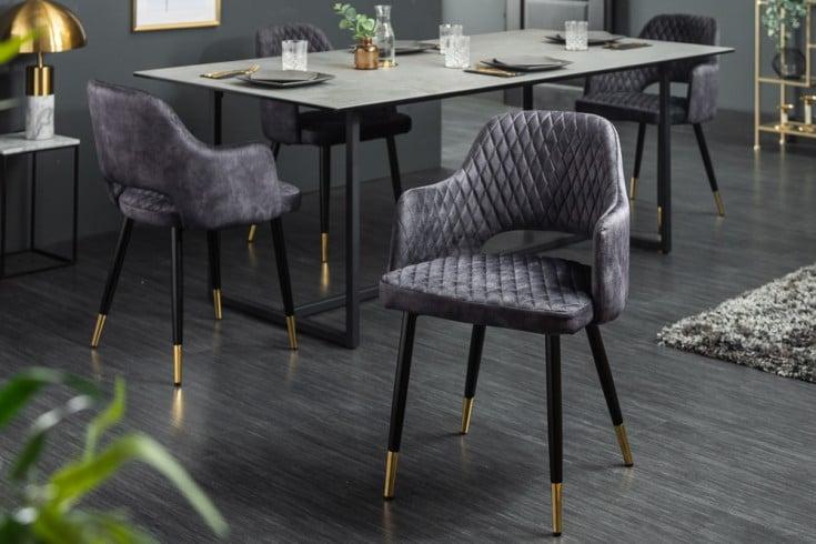 Eleganter Stuhl PARIS grau Samt Ziersteppung und goldene Fußkappen