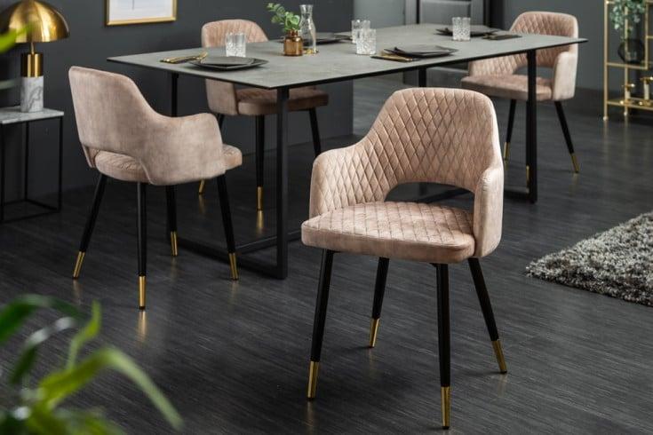 Eleganter Stuhl PARIS greige Samt Ziersteppung und goldene Fußkappen