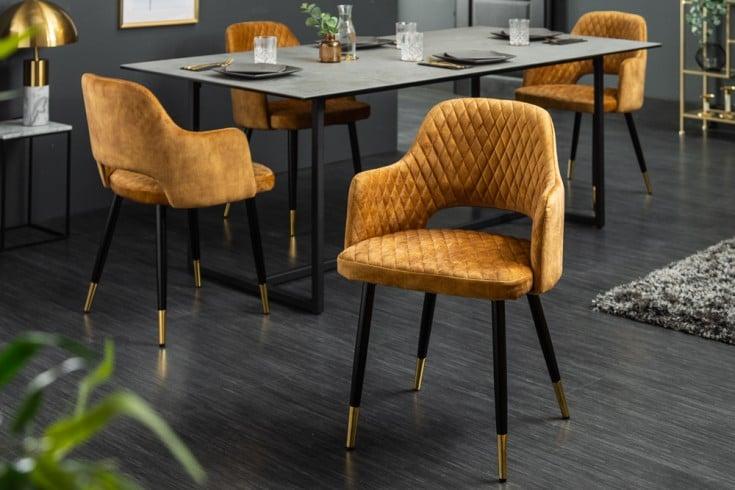 Eleganter Stuhl PARIS senfgelb Samt Ziersteppung und goldene Fußkappen
