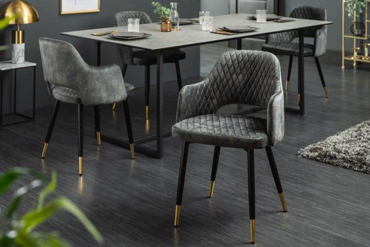 Eleganter Stuhl PARIS grün Samt Ziersteppung und goldene Fußkappen