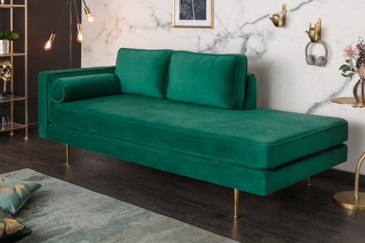 Elegante Récamière DIVA 196cm smaragdgrün Samt goldene Füße