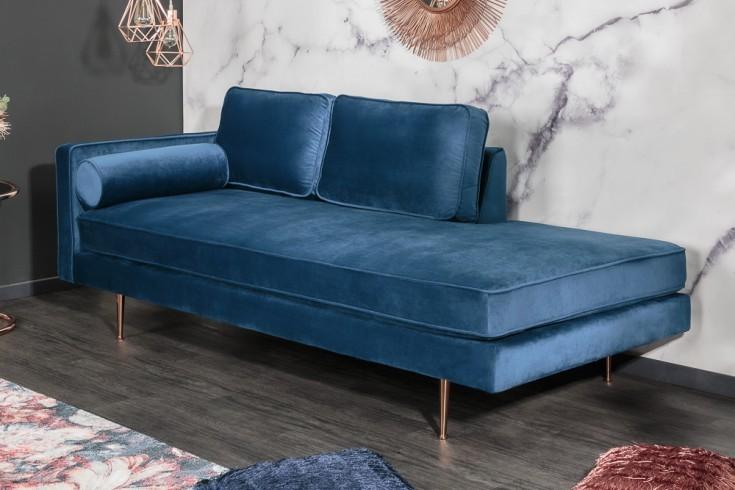 Elegante Récamière DIVA 196cm dunkelblau Samt roségoldene Füße