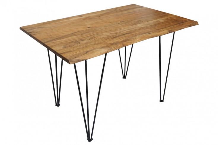 Retro Esstisch MAMMUT 120cm Akazienholz Küchentisch mit Hairpin Legs