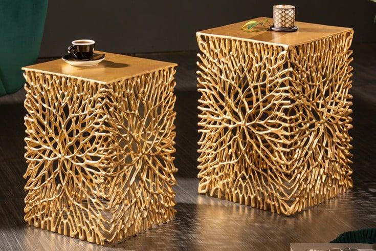 Filigranes Beistelltisch 2er Set LEAF 33cm gold Handarbeit