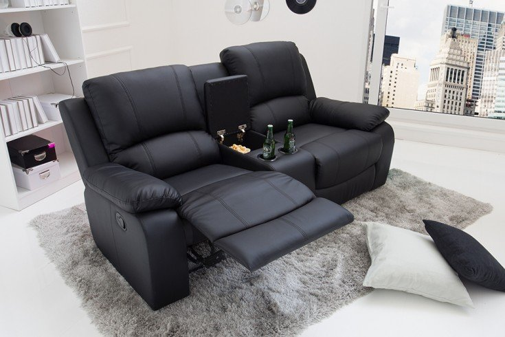 Exklusiver 2er Kino Sessel HOLLYWOOD 186cm schwarz Fernsehsessel mit Getränkehalter