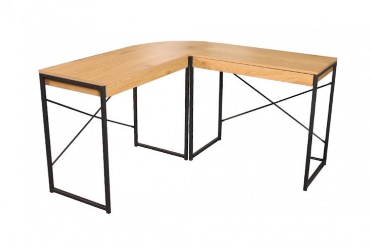 Industrial Eck-Schreibtisch STUDIO 130cm Eichenoptik mit Schubladen