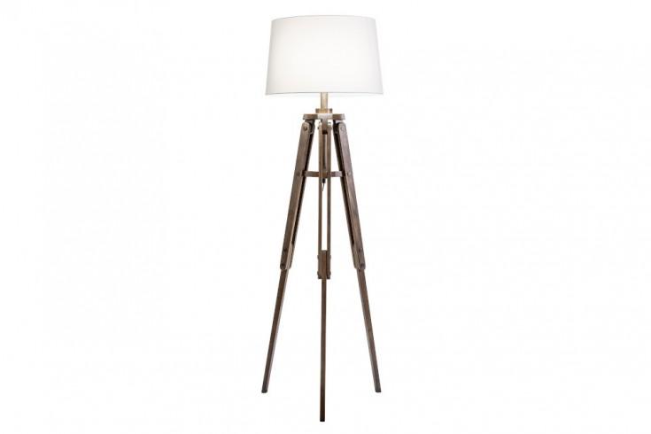 Industrial Stehlampe TRIPOD 158cm weiß Pinienholz Retro Stehleuchte