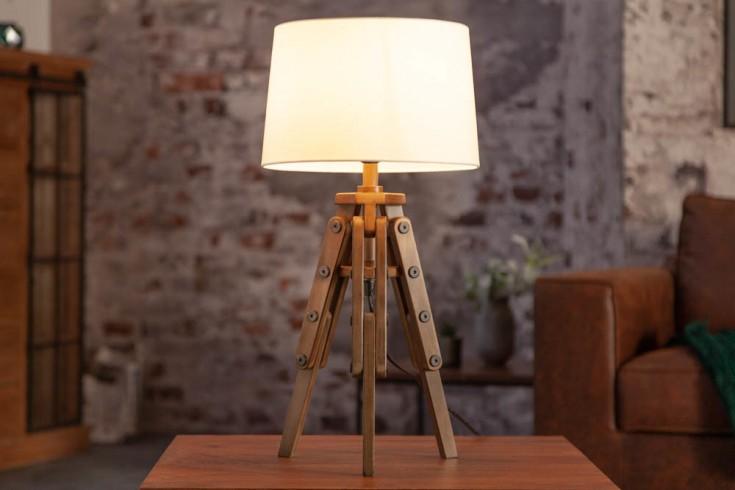 Industrial Tischlampe TRIPOD 60cm weiß Pinienholz Retro Tischleuchte