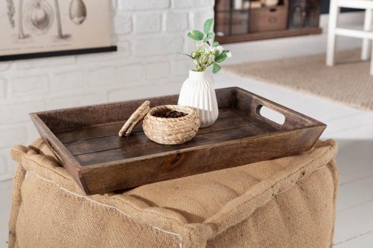 Massives Tablett 44x29cm Mangoholz antik Finish mit Tragegriffen