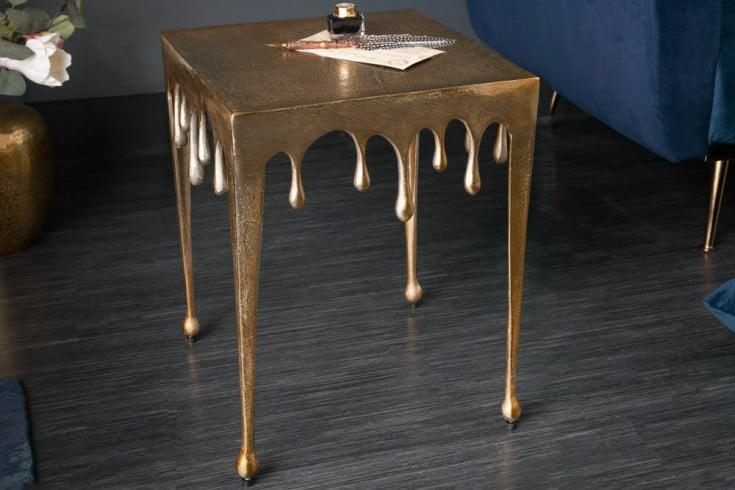 Extravaganter Beistelltisch LIQUID LINE S 34cm gold Tropfen-Design