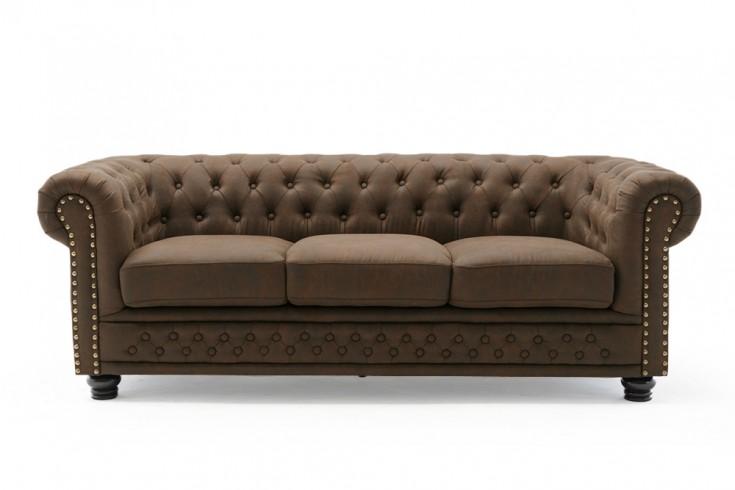 Chesterfield 3er Sofa 205cm vintage braun 3-Sitzer mit Knopfheftung und Federkern
