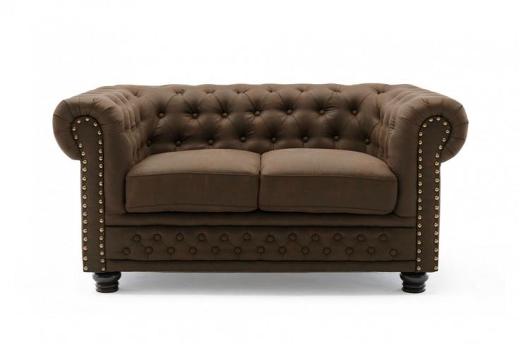 Chesterfield 2er Sofa 150cm vintage braun 2-Sitzer mit Knopfheftung und Federkern