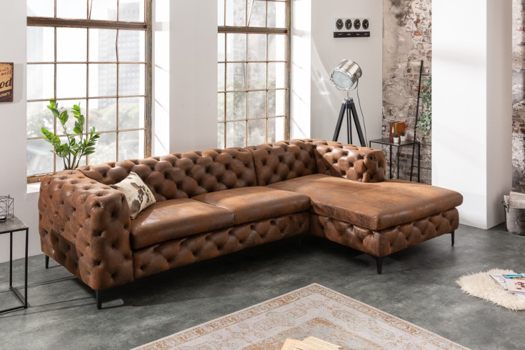 Chesterfield Ecksofa MODERN BAROCK 275cm antik braun 3-Sitzer