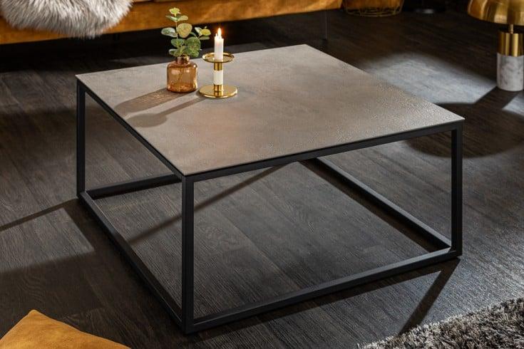 Design Couchtisch SYMBIOSE 75cm grau Keramik in Beton-Optik