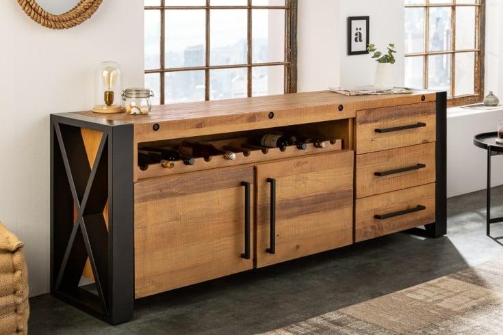 Massives Sideboard THOR 193cm recyceltes Pinienholz Industrial Design mit Flaschenhalterung