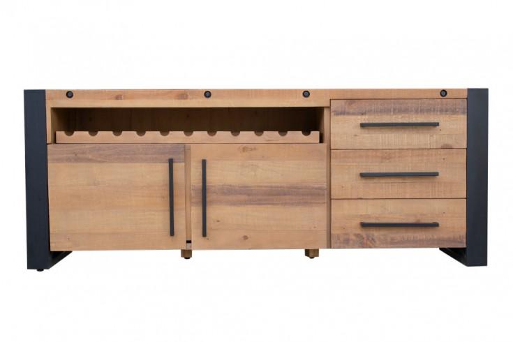 Massives Sideboard THOR 195cm recyceltes Pinienholz Industrial Design mit Flaschenhalterung