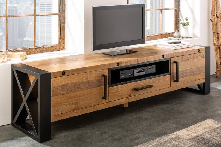Massives TV-Lowboard THOR 200cm recyceltes Pinienholz im Industrial Design