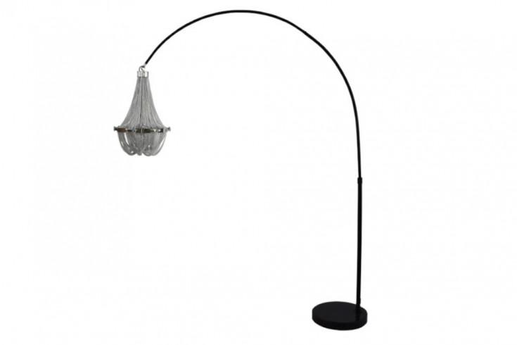 Höhenverstellbare Stehlampe ROYAL 210cm silber schwarz mit Kronleuchter