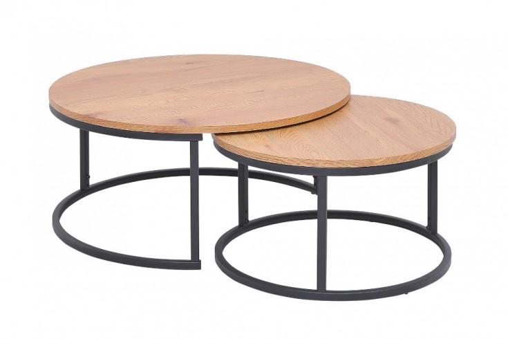 Design Couchtisch 2er Set STUDIO 80cm Eichen-Optik im Industrial Stil
