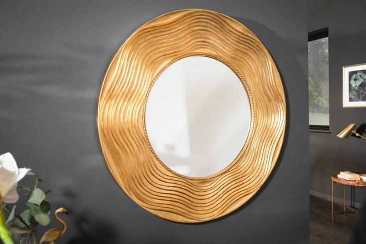Eleganter Wandspiegel CIRCLE 100cm gold rund mit verziertem Rahmen