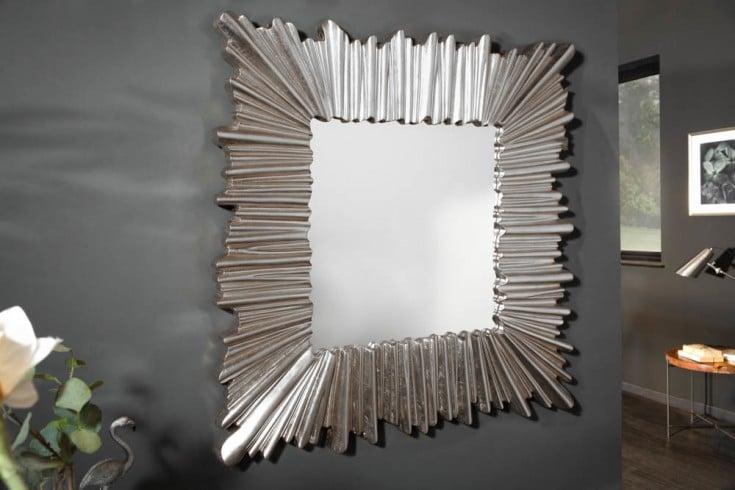 Moderner Wandspiegel VENICE 96cm silber mit auffälligem Rahmen